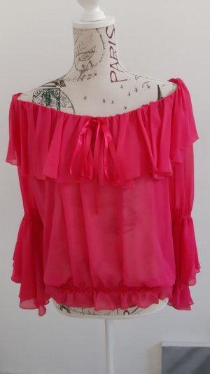 Blusa tipo Carmen rosa