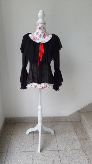 Blouse Carmen noir-rouge