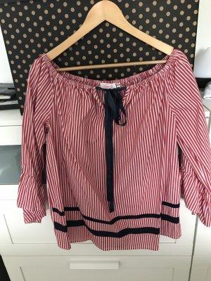 Carmen blouse wit-rood