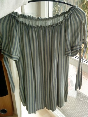 Carmen blouse khaki-donkergroen Viscose