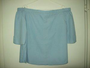 Clockhouse Blusa tipo Carmen azul celeste