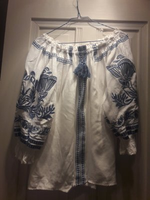 Carmen Blouse white-blue cotton