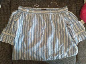 Mango Boatneck Shirt white-blue
