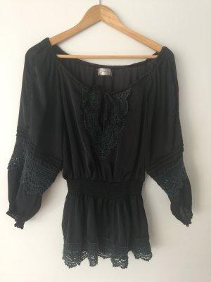 Blouse Carmen noir polyester