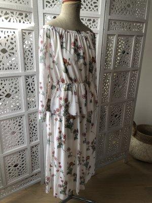 Carmenkleid aus Mesh mit Blumendruck
