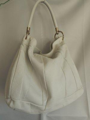Carmenpaya,Leder Beuteltasche, Hobo Bag,weiß,Textilfutter,massive Beschläge