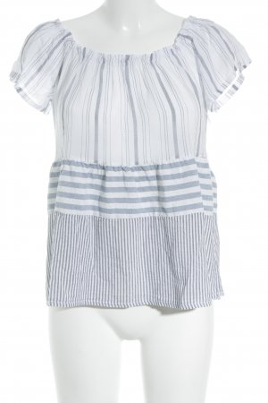 Carmen Shirt azure-steel blue striped pattern beach look
