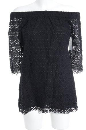 Camicetta alla carmen nero Motivo a maglia leggera stile casual