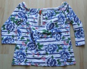 Superdry Carmen shirt wit-blauw Katoen