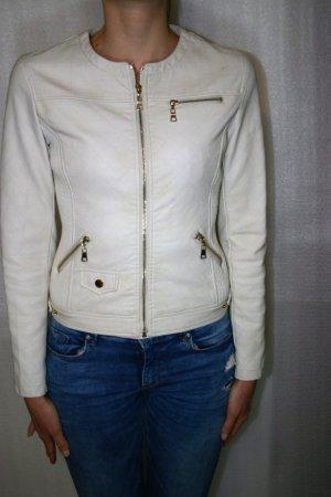 CARMIN Damen Kunstlederjacke Farbe weiß mit leichtem Beige Größe S