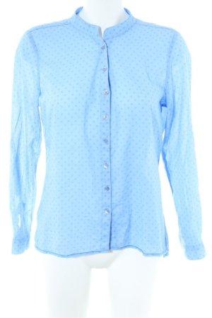 Carnabys Langarm-Bluse kornblumenblau-stahlblau Punktemuster Casual-Look