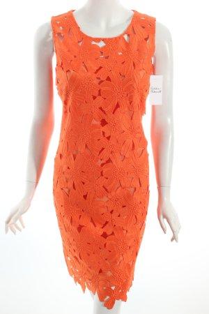 Caroll Etuikleid orange florales Muster extravaganter Stil