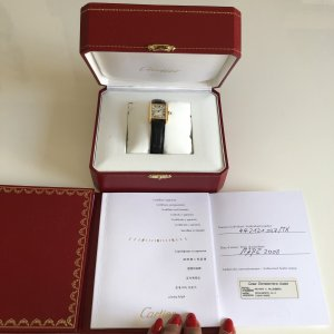 Cartier Watch With Leather Strap black-gold-colored real gold
