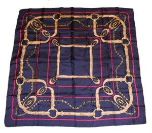 CARTIER Tuch dunkelblau und gold Seide