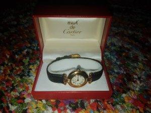 Cartier Horloge met lederen riempje zwart-goud
