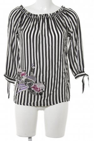 Cartoon Carmen blouse zwart-wit gestreept patroon casual uitstraling