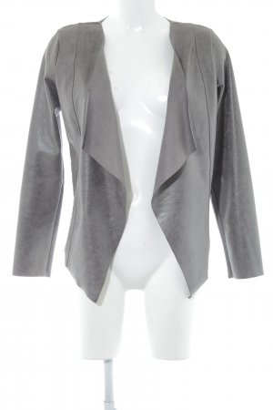 Cartoon Faux Leather Jacket grey brown flecked casual look