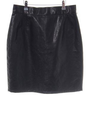Cartoon Faux Leather Skirt black elegant