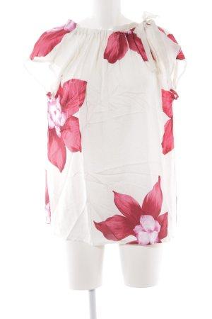 Cartoon Kurzarm-Bluse florales Muster schlichter Stil
