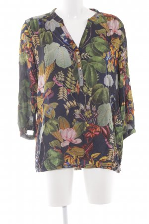 Cartoon Langarm-Bluse florales Muster Casual-Look