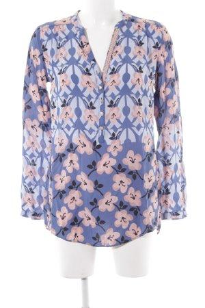 Cartoon Langarm-Bluse florales Muster Casual-Look
