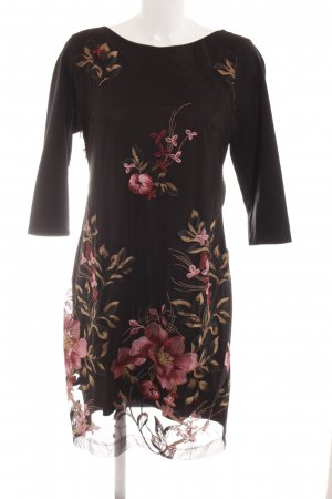 Cartoon Langarmkleid florales Muster Elegant