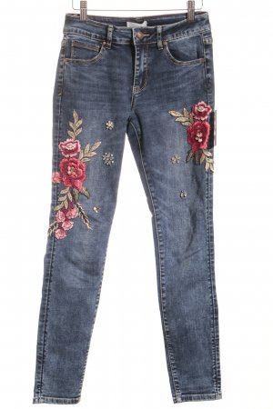 Cartoon Röhrenjeans Blumenmuster Jeans-Optik