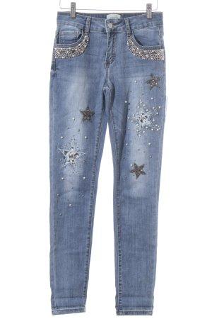 Cartoon Röhrenjeans graublau-blassblau Sternenmuster Jeans-Optik