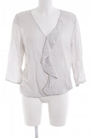 Cartoon Ruffled Blouse white-grey abstract pattern casual look