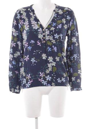 Cartoon Schlupf-Bluse dunkelblau Blumenmuster Boho-Look