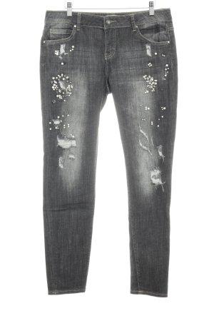 Cartoon Skinny Jeans anthrazit-grau Glitzersteinverzierung