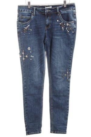 Cartoon Skinny Jeans dunkelblau Glitzer-Optik