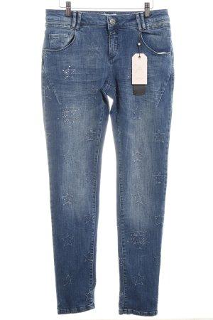 Cartoon Skinny Jeans dunkelblau Sternenmuster schlichter Stil