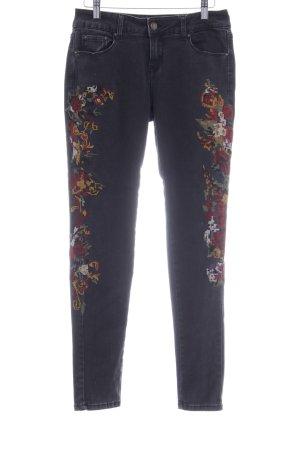 Cartoon Skinny Jeans florales Muster Street-Fashion-Look