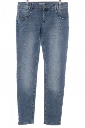 Cartoon Slim Jeans dunkelblau Sternenmuster Street-Fashion-Look