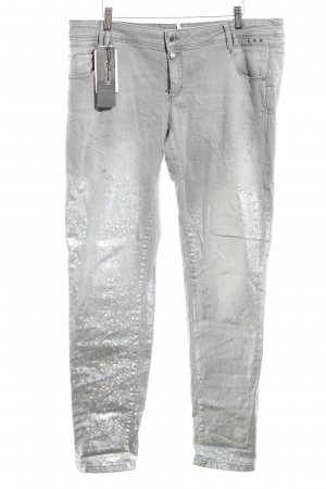 Cartoon Slim Jeans hellgrau-silberfarben Glanz-Optik