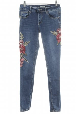 Cartoon Stretch Jeans florales Muster Casual-Look