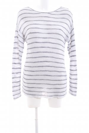 Cartoon Knitted Sweater white-light grey striped pattern casual look