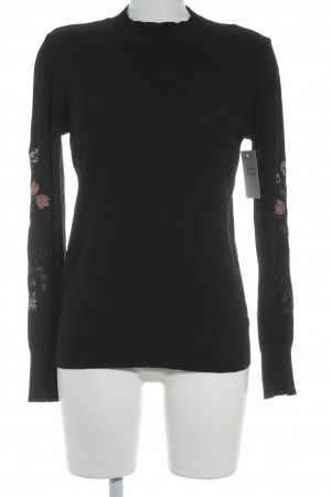 Cartoon Strickpullover Blumenmuster Glitzer-Optik
