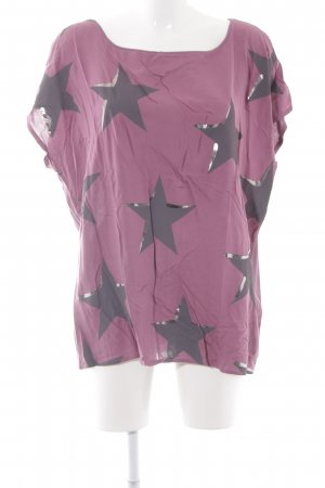 Cartoon T-Shirt violett-grau Sternenmuster Casual-Look