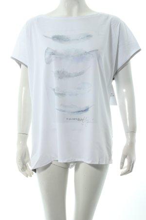 Cartoon U-Boot-Shirt weiß-graugrün Motivdruck klassischer Stil