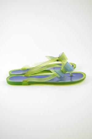 CARVELA Damen Sandalen Badeschuhe Zehentrenner Gummi Neon-Grün Lila Gr.39
