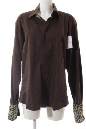 Carven Camicia a maniche lunghe marrone scuro motivo floreale stile classico
