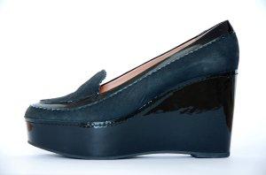 Carven Schuh NEU High Heel schwarz Keilabsatz Lack Leder 490 NP Gr. 39 Plateau