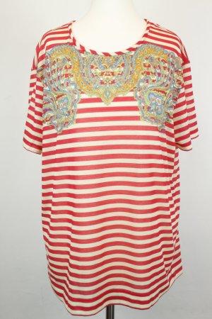 Carven Shirt T-Shirt Ringelshirt Gr. L rot weiß gestreift bunte Ornamente