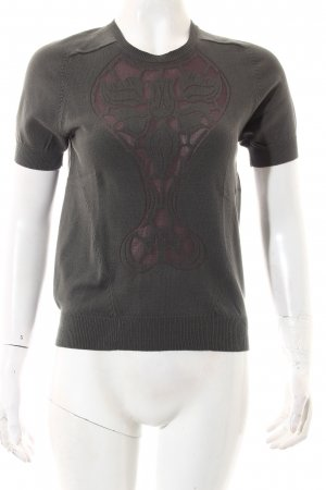 Carven Strickshirt grüngrau Ornamentenmuster Casual-Look