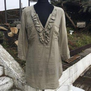 Ruche blouse khaki-groen-grijs