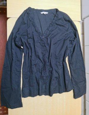 Ruche blouse zwart Katoen