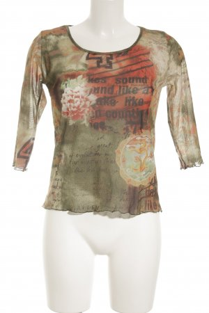 Casa Print-Shirt florales Muster Transparenz-Optik