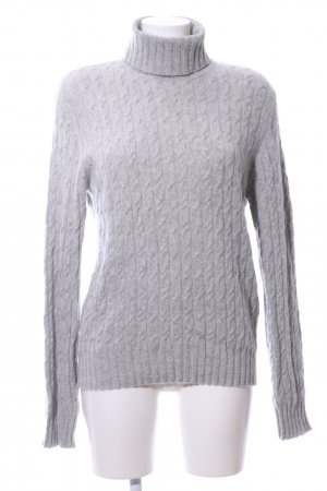 Casa Wool Sweater light grey cable stitch casual look